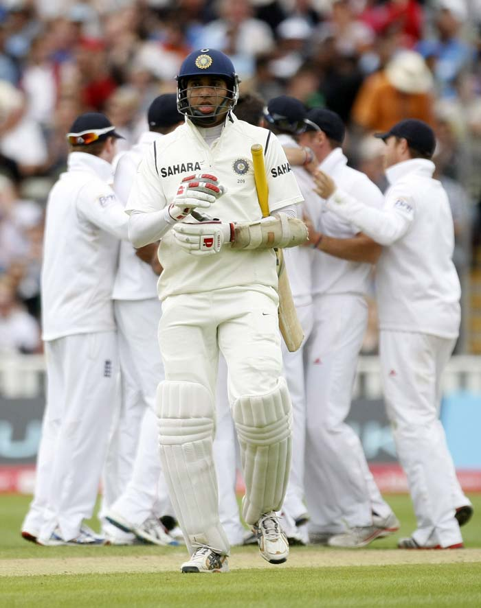 VVS Laxman was up next. On his way out that is. Anderson induced an edge off his bat to send him back on a personal score of just 2 runs.