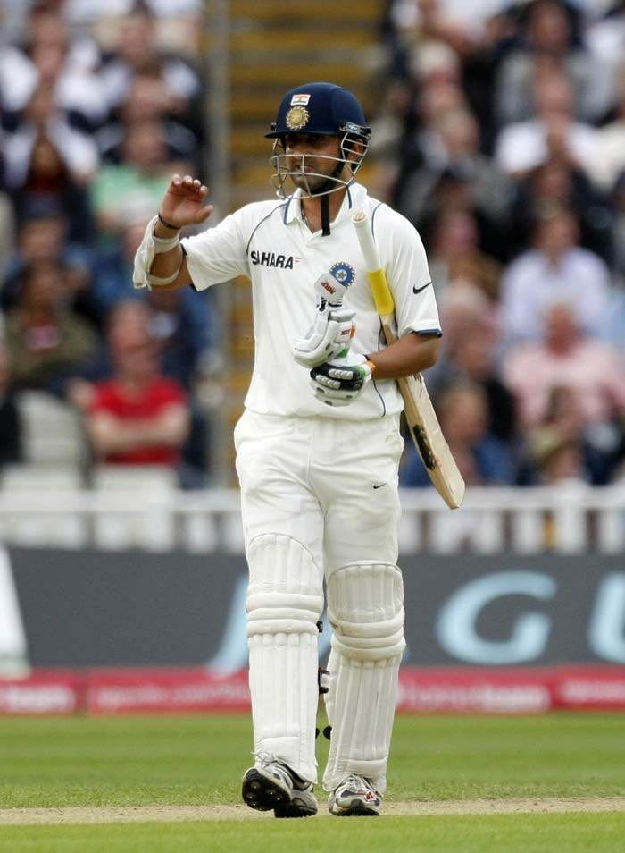 Gambhir was unable to add to his overnight score of 14 and left behind a jubilant England side and an expectant crowd, applauding the hosts.