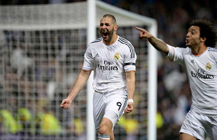 Karim Benzema, then scored twice in quick succession in 20th and 24th minute to give hosts the lead.