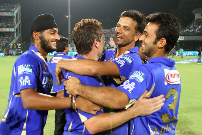 What the win did for Rajasthan was to bring the much-needed smiles back on the players' faces after a hard week. Dravid greets Hodge and is ecstatic at the prospect of playing the Qualifier 2 against Mumbai Indians at the Eden Gardens. (BCCI image)