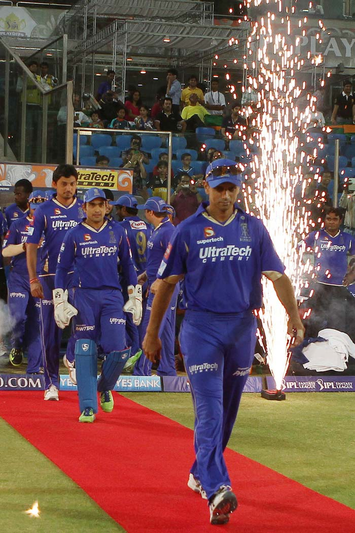 Rahul Dravid came into the all-important Eliminator with a baggage of spot-fixing controversy hanging on his team Rajasthan Royals. A grand entry onto the field was given to the players at the start of the innings. (BCCI image)