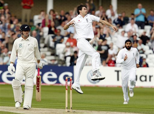 England's James Anderson celebrates the wicket of New Zealand's Aaron Redmond during their 3rd Test match, at Trent Bridge Stadium in Nottingham, England on June 6, 2008.