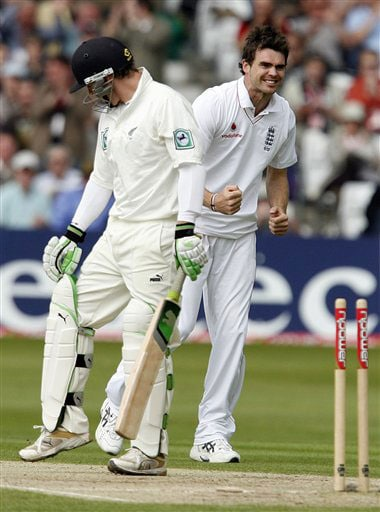 England's James Anderson celebrates the wicket of New Zealand's Brendon McCullum during day two of their 3rd Test match, at Trent Bridge Stadium in Nottingham, England on June 6, 2008.