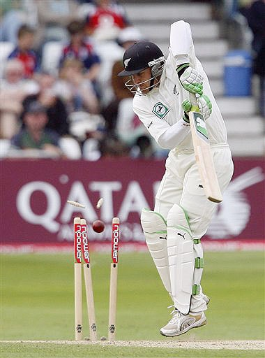 New Zealand's Brendon McCullum is bowled by England's James Anderson, unseen, on day three during their 3rd Test match at Trent Bridge Stadium, Nottingham on June 7, 2008.