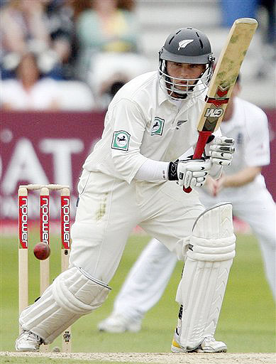 New Zealand's Daniel Flynn plays a stoke on day three during their 3rd Test match against England at Trent Bridge Stadium, Nottingham on June 7, 2008.