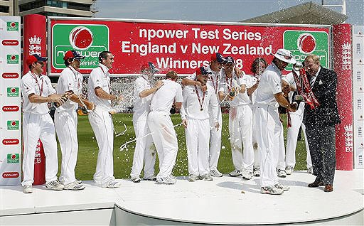 The England team celebrate victory on the fourth day of the third Test Match against New Zealand at Trent Bridge Stadium in Nottingham on June 8, 2008.