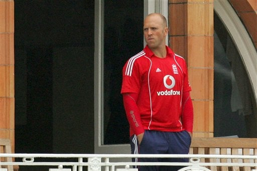 Matt Prior waits for the rain to stop before the fourth one-day international against South Africa at Lord's cricket ground on Sunday Aug 31, 2008.