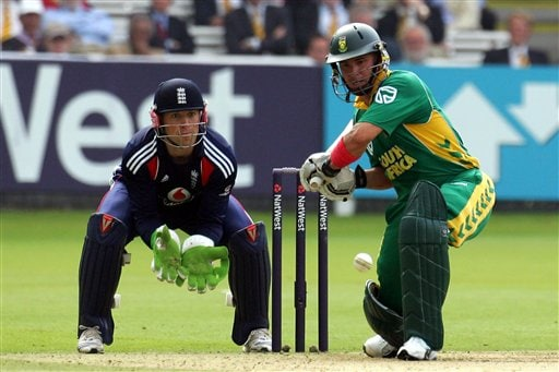 Herschelle Gibbs prepares to hit a ball from England's Paul Collingwood during the fourth one-day international at Lord's cricket ground on Sunday Aug 31, 2008.