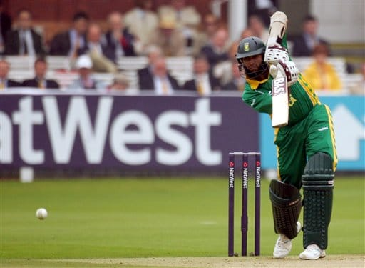 Hashim Amla drives a ball from England's Stuart Broad during the fourth one-day international at Lord's cricket ground on Sunday Aug 31, 2008.