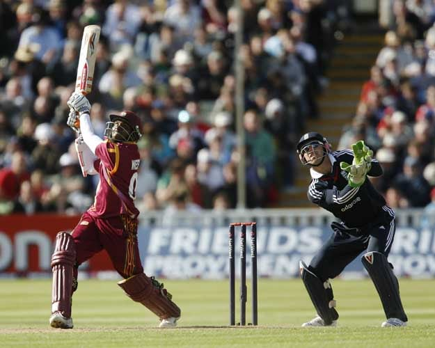Shivnarine Chanderpaul and Matthew Prior watch his shot during the one day International in Birmingham. (AFP Photo)