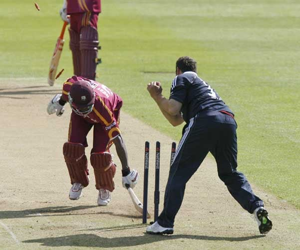 Runako Morton is run out by Tim Bresnan during the third Nat West One-Day International in Birmingham. (AFP Photo)