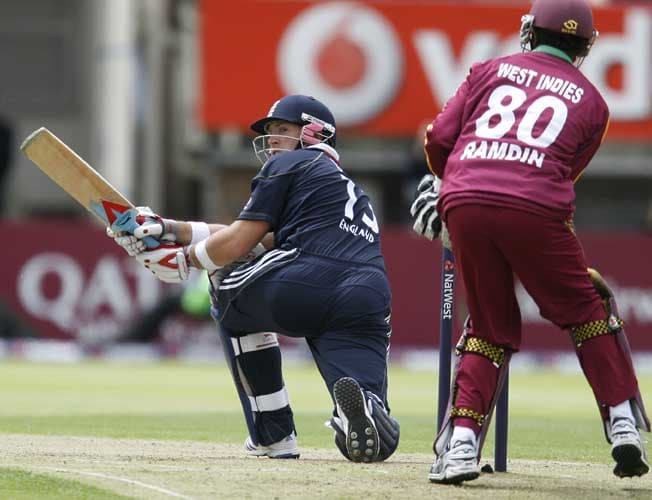 Matthew Prior plays a shot against the West Indies during the third Nat West One-Day International in Birmingham.