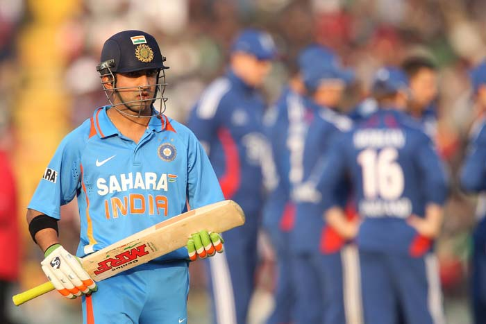 India, like England, lost a wicket early. Gautam Gambhir lasted 16 deliveries and while he did manage two boundaries, 10 in all is all he manged from this match. (BCCI image)
