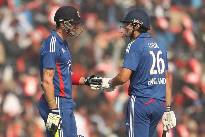 Cook was ably supported by Kevin Pietersen (76) and the two took England to 132/2. (BCCI image)
