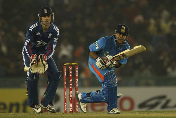 Suresh Raina and MS Dhoni took over once Rohit left. <br><br> Raina, though lucky to have edged and survived due to Steven Finn knocking the bails in his bowling stride, smashed a confident half-century.