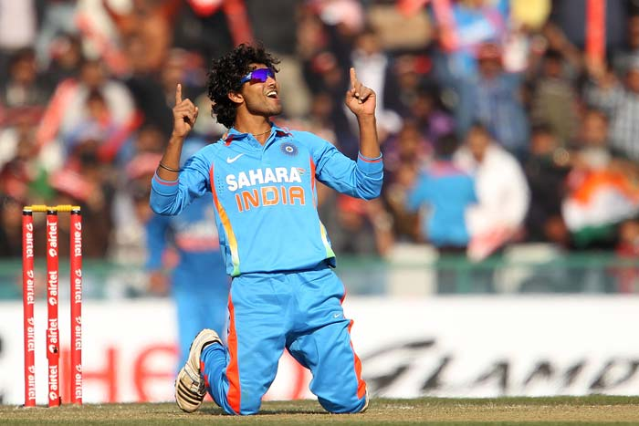 Ravindra Jadeja is seen celebrating one of his three wickets. He bowled 10 overs for 39 runs. (BCCI image)