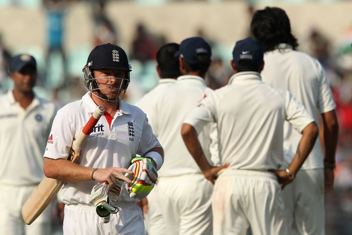 Ian Bell is seen here making his way back after being removed by Ishant. (Image courtesy: BCCI)