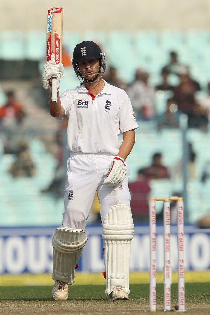 Trott is seen here acknowledging his teammates after completing his half century. (Image courtesy: BCCI)