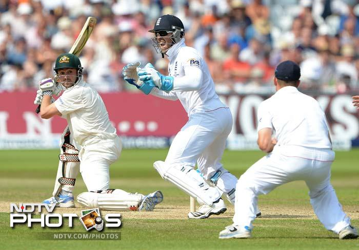 Then to what became the last ball before tea, Ed Cowan edged part-time spinner Joe Root to Jonathan Trott at slip.
