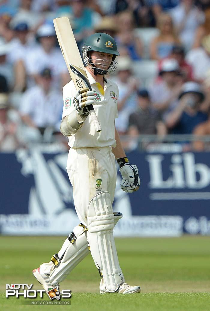 Before tea Chris Rogers, playing his second Test five years after his debut, completed a maiden Test fifty off 104 balls with eight fours. <br> But soon after tea, Rogers tamely chipped James Anderson to Ian Bell at midwicket.