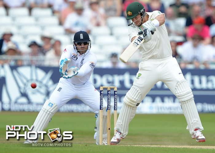 Aussies openers Shane Watson and Chris Rogers then frustrated England to add 84 for the first wicket as the visitors looked comfortable to chase down 311 set by England.