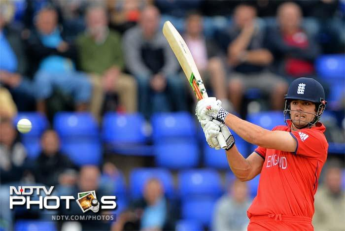 Alastair Cook played a captain's knock with a chancy half-century in testing conditions. Cook scored a brisk 64 off 47 balls with four fours and two sixes.