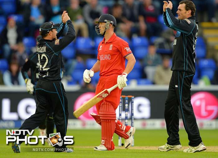 New Zealand kept taking wickets at regular intervals, with Kyle Mills finishing with 4/30 - that makes him the highest wicket-taker in Champions Trophy history - with 28.