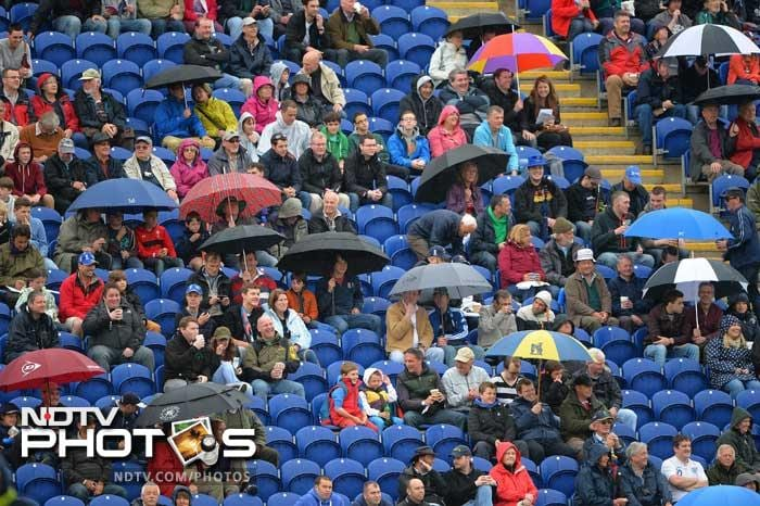 More than half the match was lost after rains lashed Cardiff and the Sophia Gardens was mostly under covers throughout the day. Good work by the groundstaff enabled a late afternoon start after the rains relented, but sky remained overcast.