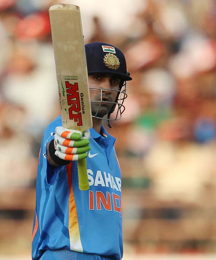 Gambhir scored his run-a-ball fifty to settle some nerves after Rahane's dismissal. Sanity did not last long though as Gambhir fell soon after for 52 to give away a great opportunity. (Photo credit: BCCI)