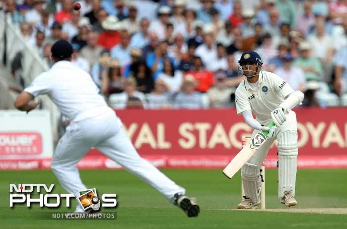 India's Rahul Dravid faces a ball during the second day of the second cricket Test match at Trent Bridge. (AFP Photo)