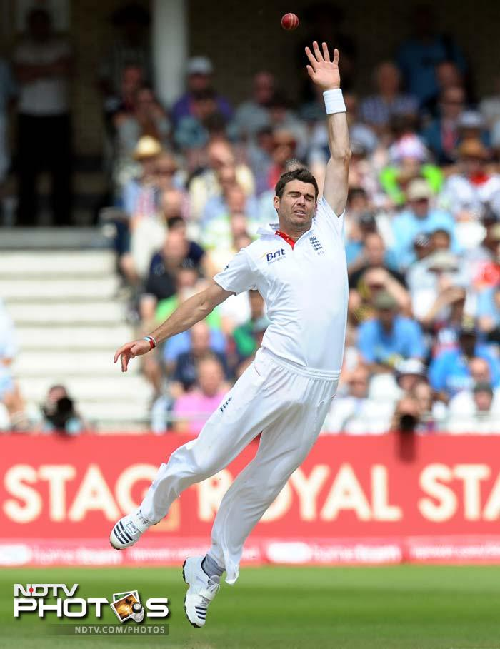 England's James Anderson jumps for a high ball during the second day of the second cricket Test match at Trent Bridge. (AFP Photo)
