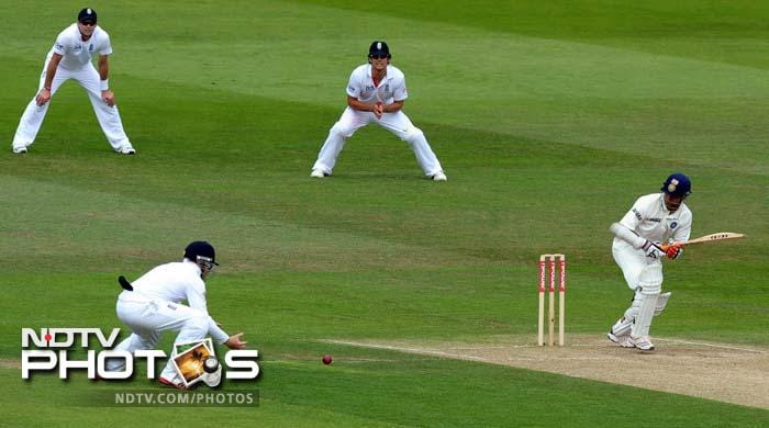 India's Suresh Raina (R) plays a shot during the second day of the second cricket Test match at Trent Bridge. (AFP Photo)