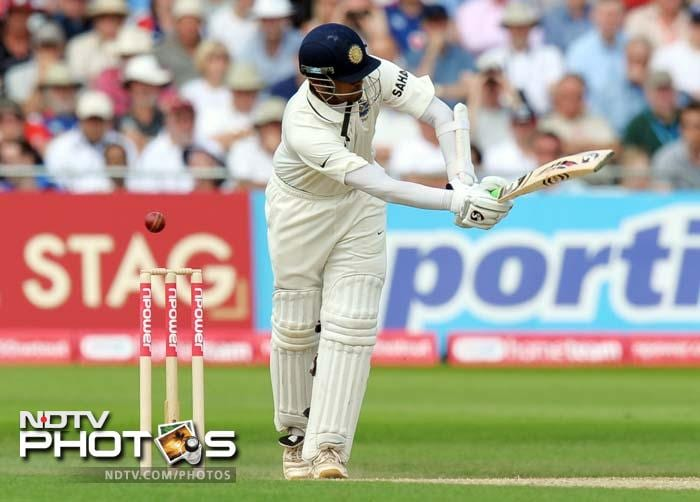 India's Rahul Dravid bats during the second day of the second Test match against England at Trent Bridge. (AFP Photo)