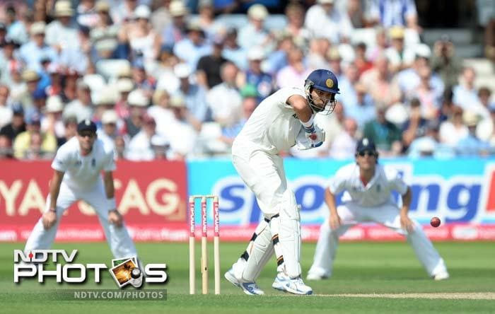 India's Yuvraj Singh plays a shot during the second day of the second cricket Test match against England at Trent Bridge. (AFP Photo)