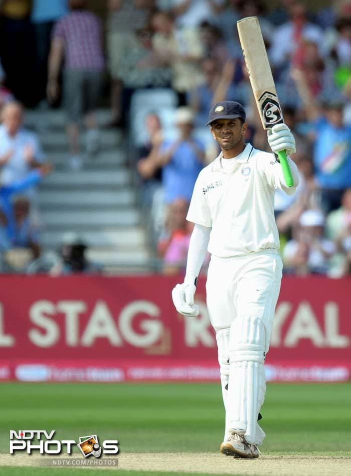 India's Rahul Dravid celebrates 100 runs not out during the second day of the second cricket Test match at Trent Bridge. (AFP Photo)