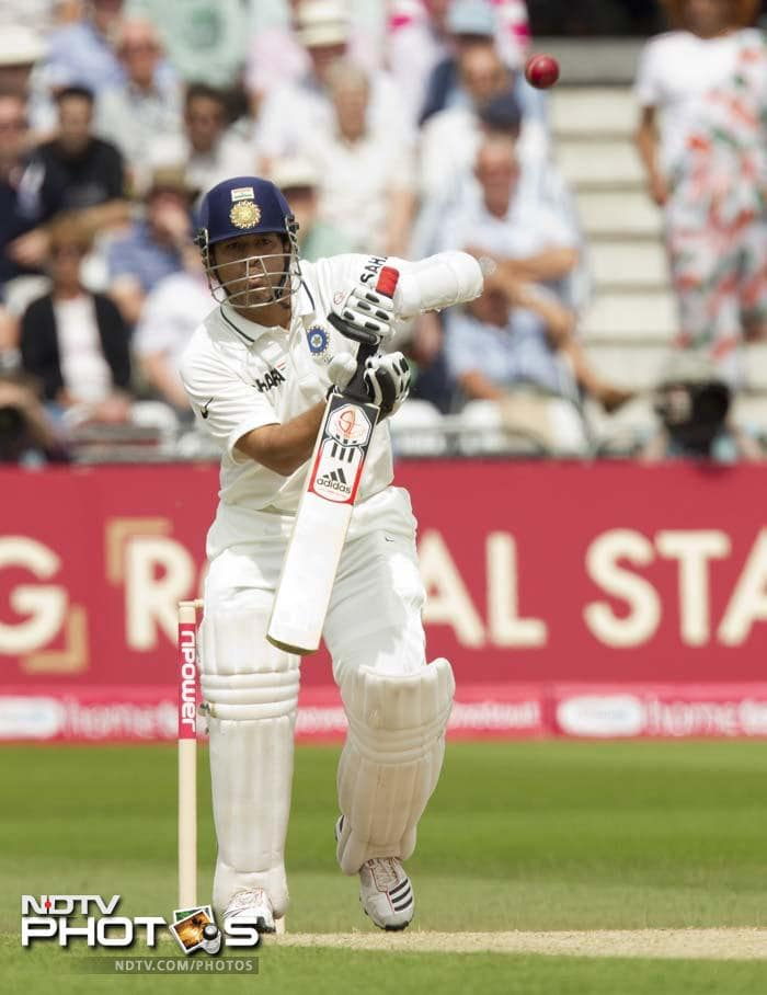 India's Sachin Tendulkar faces a ball on the second day of his team's cricket Test match against England at Trent Bridge. (AP Photo)