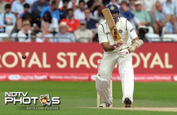 India's VVS Laxman bats during the second day of the second cricket Test match at Trent Bridge.