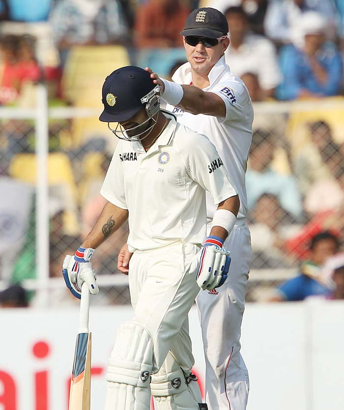 Virat Kohli and Kevin Pietersen share a good rapport, as is quite visible in the photo. Kohli, for once, could not really impress, with his 19 coming off 67 balls in a totally uncharacteristic innings from the youngster. (Photo credit: BCCI)