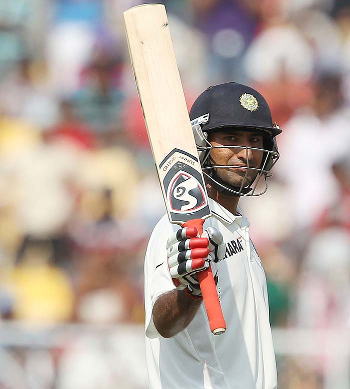 Cheteshwar Pujara continued to impress in whites with a solid 98* off 181 balls. Even as Sachin Tendulkar and Virat Kohli disappointed, the Saurashtra batsman held fort and will look to score his second ton in Test matches early on Day 2. (Photo credit: BCCI)