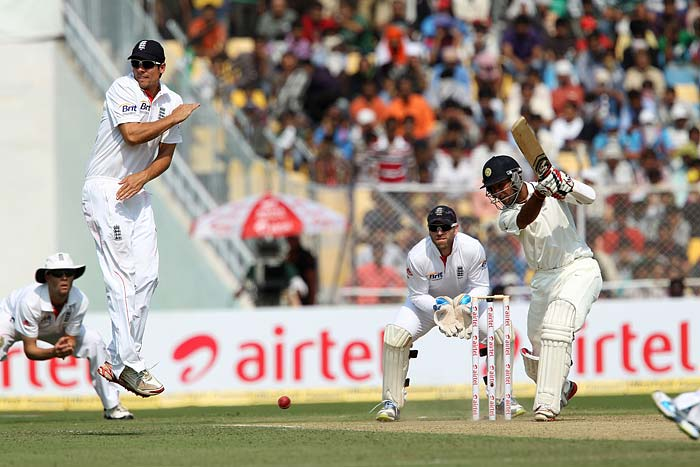 With Gauti's dismissal though, Cheteshwar Pujara walked in and with him some assurance too. He did give one chance when a leading edge was misjudged by James Anderson but played solidly overall to support Viru. (Photo credit: BCCI)