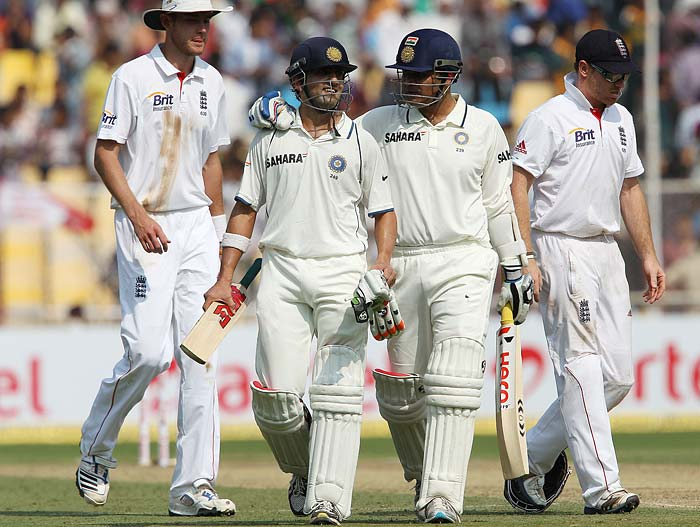 Under-fire Indian opening duo Virender Sehwag and Gautam Gambhir did give the home side a solid start. India went into lunch at 120/0 with Sehwag batting on 79 and Gambhir on 37. Gauti (45) though, did not look convincing enough and got out shortly after lunch-break. He earlier, in the same over of Swann, had survived due to Matt Prior's fault. (Photo credit: BCCI)