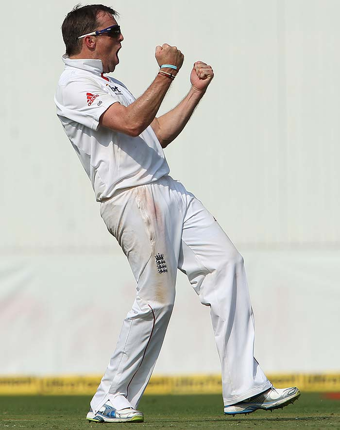 Graeme Swann was the pick of the bowlers, although James Anderson and Samit Patel did bowl economically in the later half of the day. England will surely want Swann to grab a major share of wickets and early at that. It was the off-spinner's antics which won England a Test match in Sri Lanka and a repeat is what Barmy Army would want. (Photo credit: BCCI)