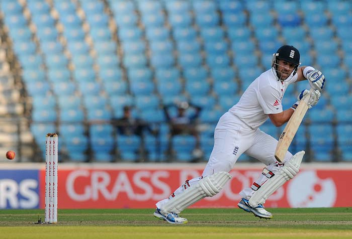 England managed to dig themselves out of the hole yet again as debutant Joe Root and in form wicket-keeper batsman Matt Prior played solid innings of 31 and 34 respectively. They added 60* by the end of day's play. (Photo credit: BCCI)