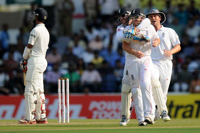 India had a mini recovery with Cheteshwar Pujara and Gautam Gambhir as they added 58 before the Saurashtrian was given out bat-pad off Swann. The ball went off his arm as shown in the replays but since DRS is absent, nothing could be done. (Photo credit: BCCI)