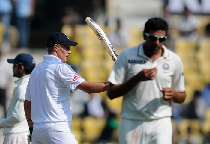 It was not to be India's day though, as Graeme Swann joined hands with the defensively brilliant Joe Root and the pair added 60 runs. Root scored his first Test fifty in his first Test innings. (Photo credit: BCCI)