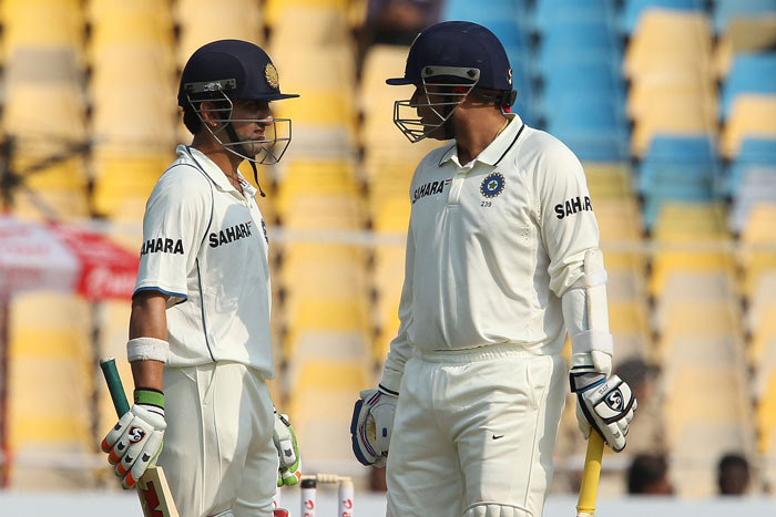 """<b>Opening woes:</b> We know """"All's well if it ends well"""", but what India didn't seem to understand was """"Thing might turn better if it starts well"""". India batsmen Gautam Gambhir and Virender Sehwag, who undoubtedly form the most successful opening pair, haven't been among the runs as a pair. They managed to build a century stand just once in the series. They scored 134 runs in Ahmedabad and as the result sheet says, India won that match. (Image Courtesy: BCCI)"""