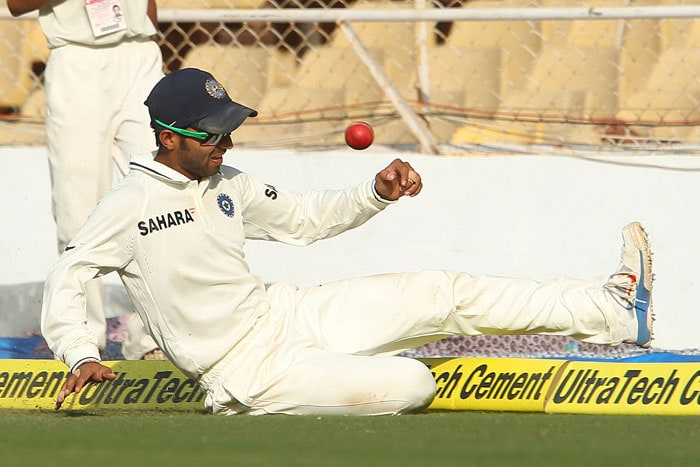 <b>Butter fingers:</b> And if it wasn't bad enough that Indian bowlers couldn't torment the English batsmen, our fielders squandered the chances which could have turned the matches on their heads. If Pujara was caught napping when Cook knocked one directly to him in Kolkata, Sehwag was all badly balanced to collect Kevin Pietersen's catch in Nagpur. These are just two of the many missed chances. (Image Courtesy: BCCI)