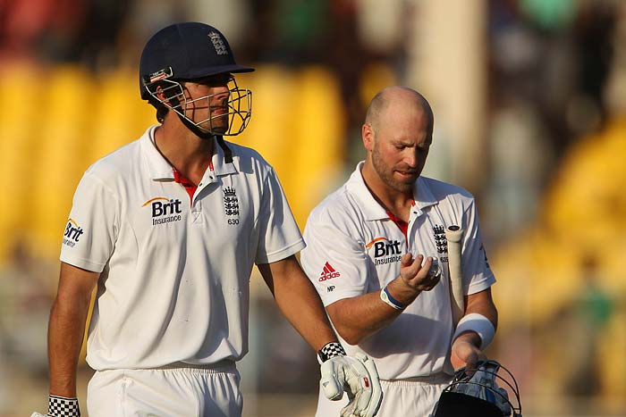 Cook and the determined Matt Prior added 141* for the sixth wicket. Prior once again came good when team needed him the most. He remained not-out on 84 ably supporting his skipper. India need to come up with something extraordinary to make a match out of this now. (Photo credit: BCCI)