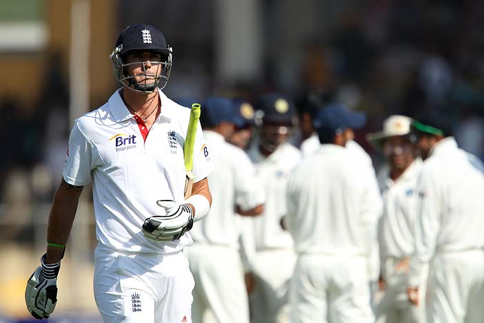Soon after Trott's dismissal, Kevin Pietersen showed again that he did not like playing against left-arm spinners. A tumbling and imbalanced sweep shot off Ojha landed nearly in the block-hole and bowled him neck-and-crop. Disaster had struck England. (Photo credit: BCCI)