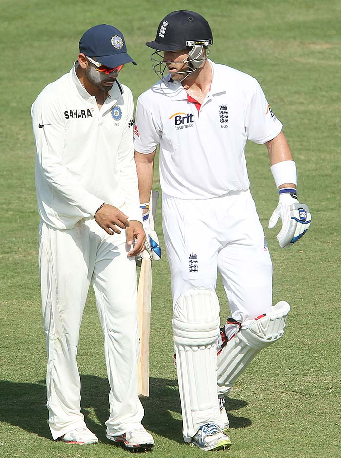 Matt Prior and Virat Kohli chatting after day's play. May be Virat asking for some batting tips from the wicket-keeper. (Photo credit: BCCI)